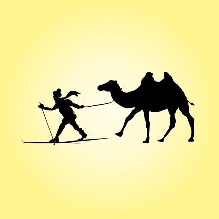 Skier and camel. Desert silhouettes, vector illustration of human pulling animal. Ilustração