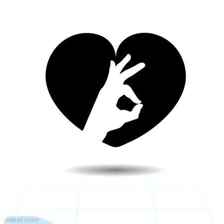 Heart vector black icon, Love symbol. Ok icon in heart. Valentines day sign, emblem, Flat style for graphic and web design, logo