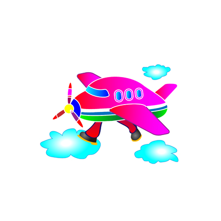 Childrens application, illustration the pink plane. Running legs by clouds. Vector.