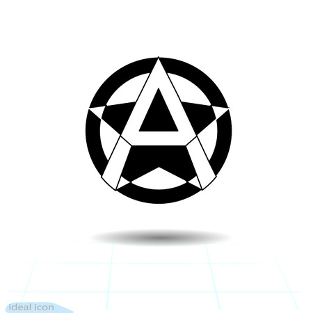 Anarchy sign. Vector image, white background Anarchist star