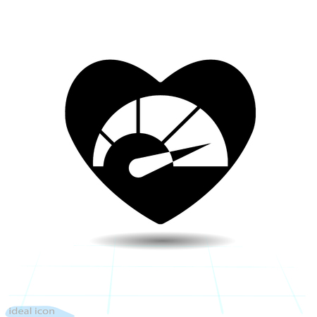 Heart vector black icon, Love symbol. Speedometer in heart. Valentines day sign, emblem, Flat style for graphic and web design.