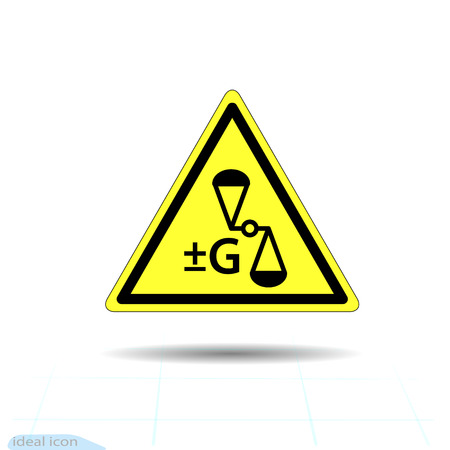 Hazard warning for anti gravity, change gravity sign. Vector illustration