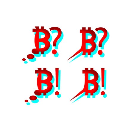 What happens to bitcoin Speech Bubble Icons Bitcoin Set. Depreciation falling price of red bitcoin. Red bit icon. The cryptocurrency. For reflection and communication in comics. vector illustration