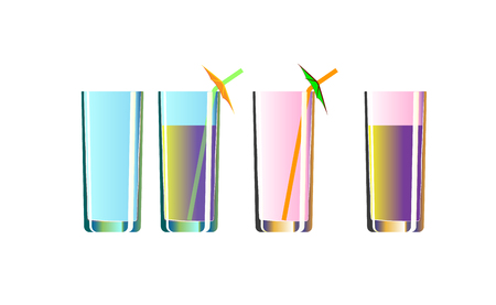 Set of alcoholic cocktails isolated on white background. Cocktail kit.