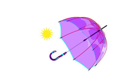 Vector illustration of classic modern purple opened umbrella isolated on white background.