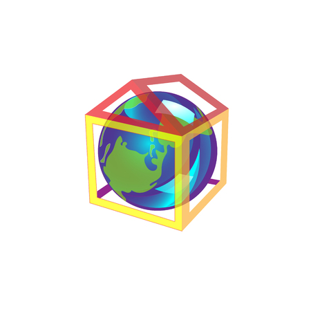 Friendly small Planet is in the house, it is cozy and warm. Vector Illustration, April 22 earth day, world. Illustration
