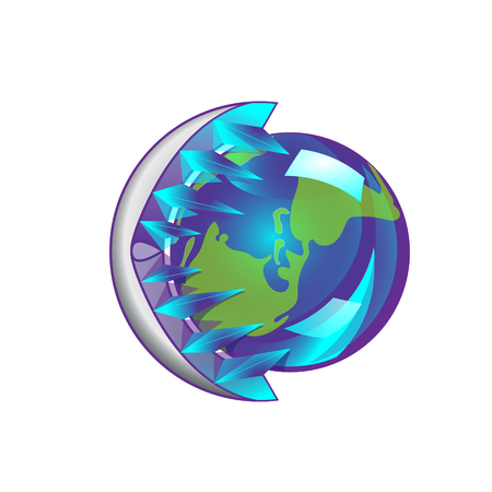 Friendly small Planet is in the jaws of the ice monster, it is cozy and warm. Vector Illustration april 22 earth day, world global cooling.