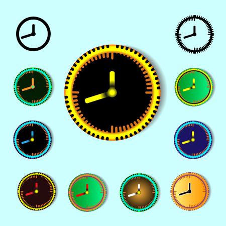 Set of clock vector design and decoration elements. Ilustração