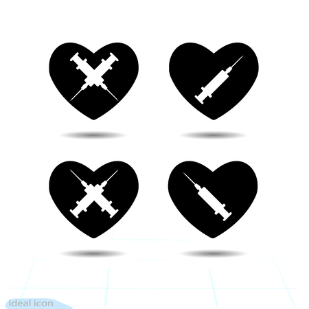 Heart vector black icon, Love symbol. The silhouette syringes in heart. Valentines day sign, emblem, Flat style for graphic and web design, logo Illustration