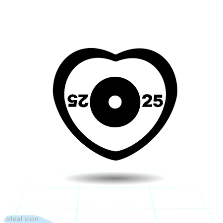 Heart vector black icon, Love symbol. The silhouette disc weight lifting or powerlifting plate in heart. Valentines day sign, emblem, Flat style for graphic and web design, logo. Sport symbol illustration.