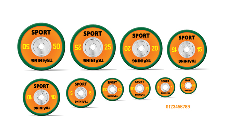 Different orange weight plates numbered weights. Illustration vector set for barbells. GYM, fitness center