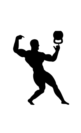 Figure of a posing bodybuilder athlete showing his muscles and trick balance kettle bell vector illustration.