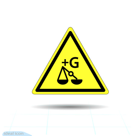 Hazard warning increasing the force of gravity, enhance gravity sign. Vector illustration. Illustration