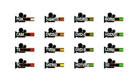 Pirated movie release types, Release formats icon set. Video piracy. Vector.