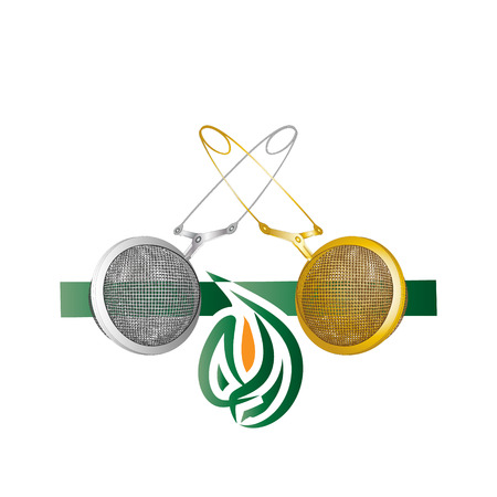 Realistic Tea strainers. Silver and gold object isolated vector on light background.