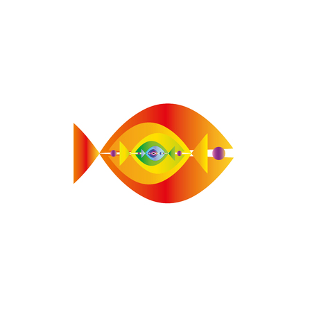 Abstract colorful fishes together- vector graphic. This logo template can be representative of travel destination of an exotic tropical place, tourism, aquarium, adventure water sports, etc.