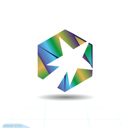 Stylish white comet and fire in the cube, success trail logo for creative and successful business company icon.
