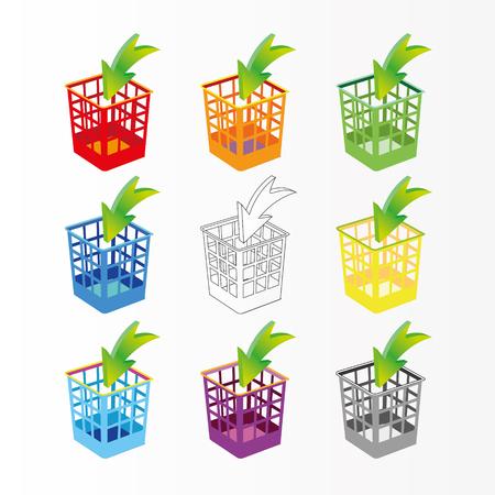 Plastic basket set, trash bins on white. Multicolor garbage can, dustbin.
