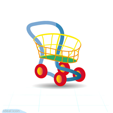 Toy cartoon Shopping Cart Icon, colorful design best vector icon. Children s shop.