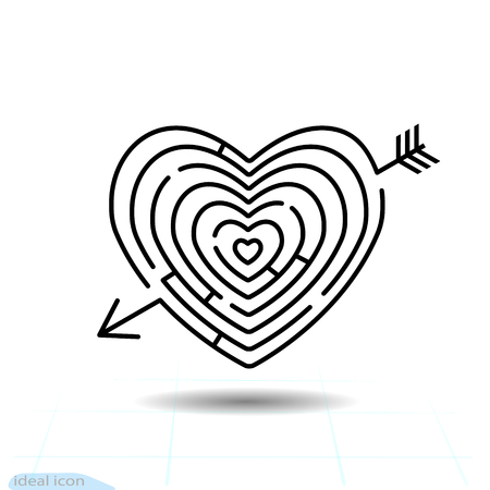 Heart maze Arrow heart icon. Love sign. Valentines day symbol. Line icon on white background. Vector illustration. Sticker, patch, badge.