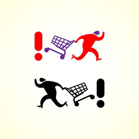 Running man pushing shopping cart icon. Vector shopping illustration. Stock Illustratie