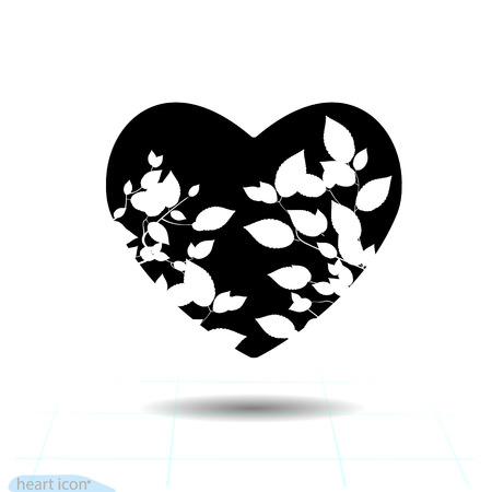 Heart vector black icon, Love symbol. Silhouette bush with leaves in heart. Valentines day sign for congratulation and shadow on white background.
