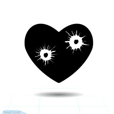 Heart vector black icon, Love symbol. Bullet holes in heart. Valentines day sign for congratulation and shadow on white background.