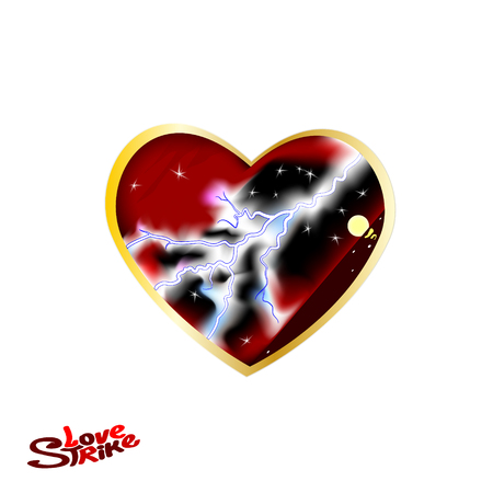A Big Dark red Heart. Vector Illustration of love and hearts with thunder. Stock Illustratie