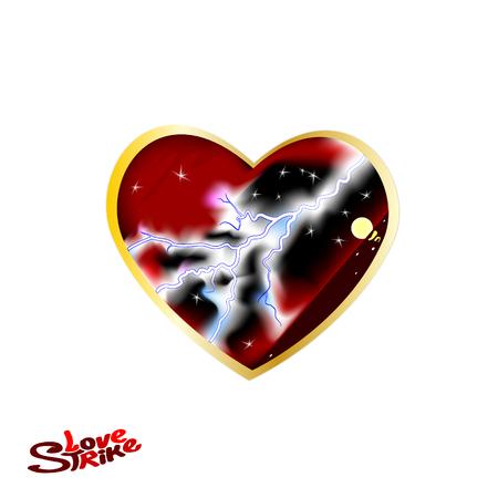 Un gran corazón rojo oscuro. Ilustración de vector de amor y corazones con truenos.