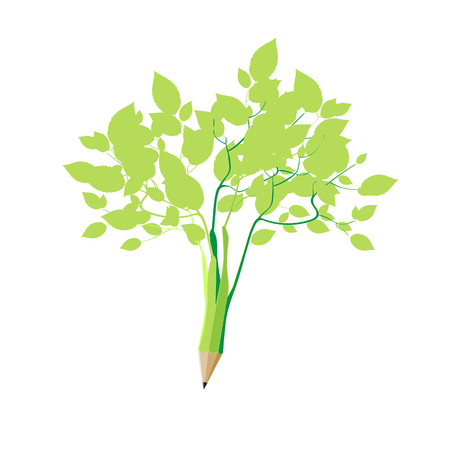 Sprouted pencil and became a simple green bush. Wooden sharp abstract, isolated on white background, vector illustration.  イラスト・ベクター素材