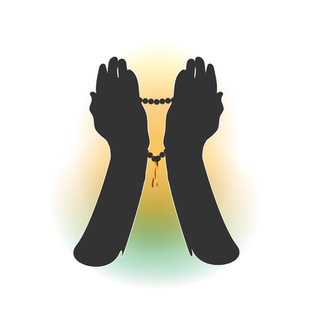 Hands of a Muslim who prays, the vector on a white background. For Hajj, Umrah, Ramadan, Arafat, Prayer. Vector illustration.