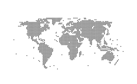 World map geometric in BLACK, assembled from triangles. Vector illustration on WHITE background.