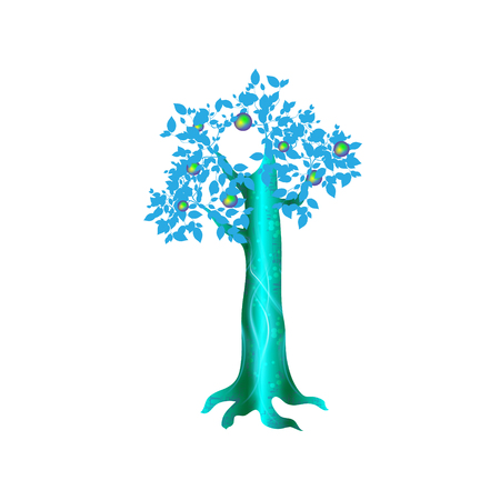 Fantasy magic tree, object for witchcraft vector design illustration.