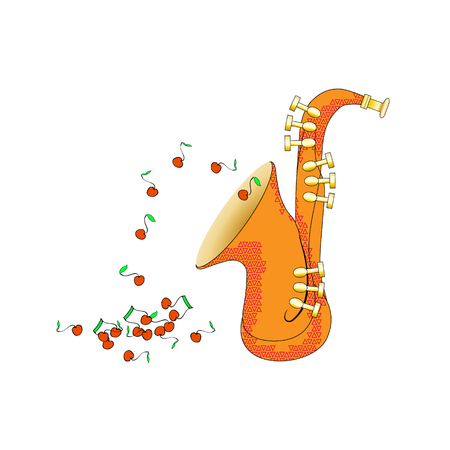 Saxophone from side view in cartoon style. Brass musical instrument illustration. Vector. And the notes fly like fruits. Fun however Funny and cute.