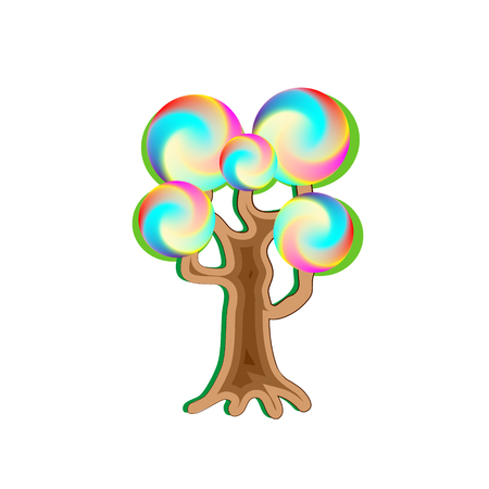 Fantasy magic caramel tree, object for witchcraft and sweetnesses. Vector design illustration.