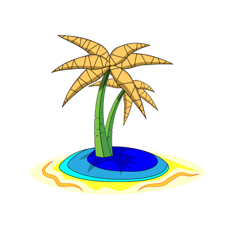 Palms on Island, cartoon illustration of isolated on white background.