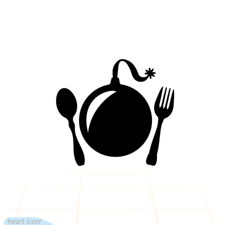 Explosive food bomb. fork or spoon icon. Illustration vector