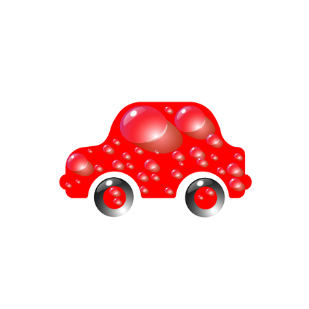 The most top-End toy car red color in drops of water. Car wash design vector abstract modern illustration. Illustration