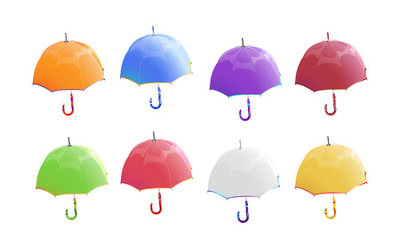 Colorful umbrellas set. Vectors illustration of classic modern opened umbrellas, isolated on white background