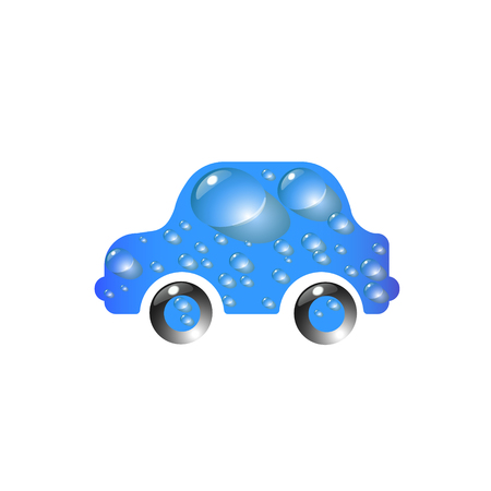 Toy car blue color in drops of water. The most top-End Car wash design vector abstract modern illustration.