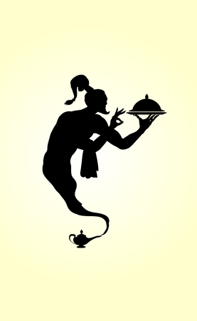 Waiter vector silhouette of an black arabic genie lamp isolated on a light background. Illustration
