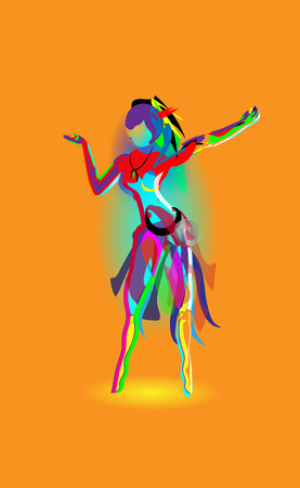 Multicolored abstraction with a dancing girl, colorful woman dancing.