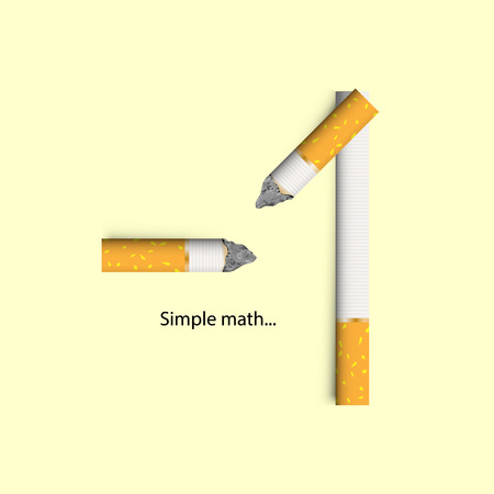 Concept for cigarettes, a simple math of nicotine addiction. Vector illustration, with drop shadows for any background. Stop smoking.