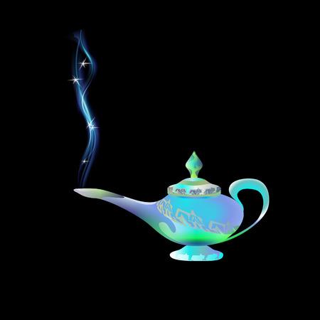 Azure, turquoise magic lamp on background black. Tale. Arabian Fairy tale. Wealth concept. Cartoon vector illustration light blue color. Three wishes east culture, arabian legend. Иллюстрация