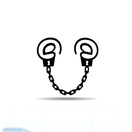 Modern metaphor, phone internet and social networks addiction icon. Flat style vector concept illustration isolated on white background. Handcuff email alias. Illustration