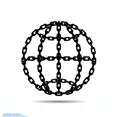 Bondage outline Globe Element In Trendy Style. Chain Icon in world connection symbol for your web site design