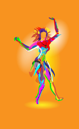 Multicolored abstraction with a dancing girl, colorful woman dancing. Vector orange background.