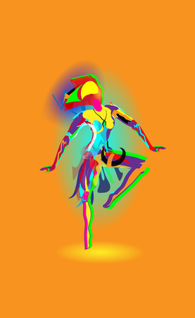 Multicolored abstraction with a dancing girl, colorful woman dancing. Vector orange background. Stock Vector - 103605273