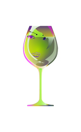 Reflection of a beautiful girl in silhouette glass, sketch goblet absinthe liqueur. Cartoon character and drink. Isolated of white background. Vector illustration. Cocktail Party. Illustration
