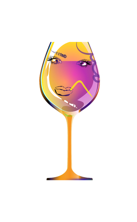 Reflection of a beautiful girl in silhouette glass, sketch goblet. Cartoon character and drink. Isolated of white background. Vector illustration. Cocktail Party.